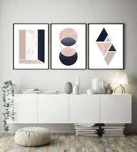 Set of 3 Navy Pink Marble Design Abstract Home Poster Print Black Decor Wall Art