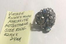 Vintage Rhinestone Marcasite Adjustable Size Ring 22mm X 24mm