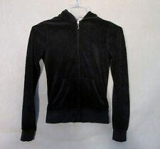 Z7946 Junior's Juicy Couture Black Long Sleeve Full Zip Hooded Sweater-P