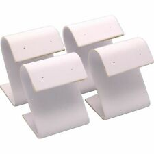 4 White Faux Leather Earring Display Stands 2.25""