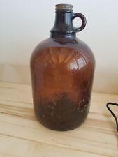 Amber Brown Glass 1/2 Gallon Large, Handle (no cap) Vintage Glass Jug Bottle