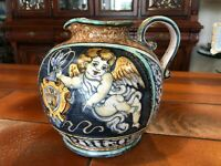 "Vintage Majolica Italy Art Pottery Handpainted Cherub Angel Jug Pitcher, 8"" Tall"