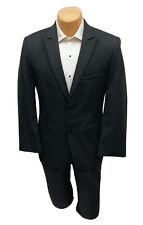 Men's Jean Yves Black Tuxedo Suit Jacket Super 100's Wool Peak Lapels 40L
