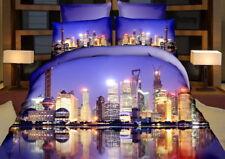3 tlg.3D Effekt Bettwäsche Bettbezug Bettgarnitur 155x200 cm New York bei Nacht