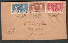 Dominica 1937 first day cover Coronation to J C Bruney Esq Bath Estate