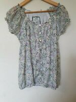 Fat Face Silk Blend Floral Gypsy Prairie Off Shoulder Blouse Top Size 10