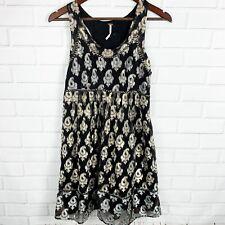 Free People Black Silver Gold Metallic Dress Mini Short Sz 2 High Waist Cocktail