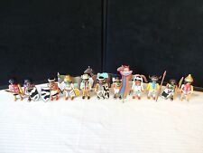 Vintage Playmobil 11 Indians Figure Set with Weapons 2 Horses & 1 Donkey Lot S