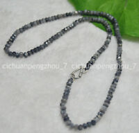 Faceted 2x4mm Gray Labradorite Rondelle Gems Beads Necklace 17-24'' Silver Clasp