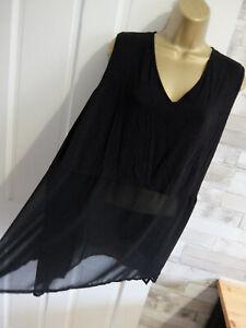 CHA CHA VENTE ● size 20 ● black panel blouse vest top womens