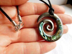 "New Zealand Abalone Paua Maori Spiral Pendant 19"" Cord Necklace Hematite Plated"