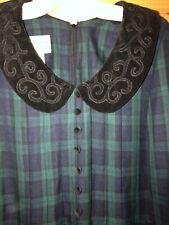 PLAZA SOUTH WOMENS DRESS MODEST SIZE 12 Peter Pan Green Blue Plaid Velvet Collar