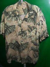 Panama Jack Men's Hawaiian Shirts Green White Floral Patterns on Khaki  Size XL