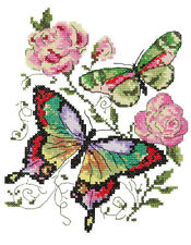 Cross stitch kit papillons et roses