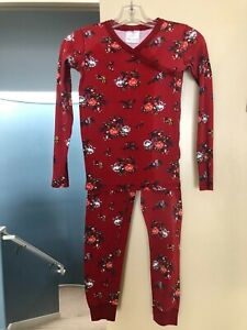 Hanna Andersson maroon red floral organic cotton pajama set   140    10 US