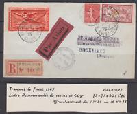 RR LETTRE BOURGET AVIATION 1925 BRUXELLES 1F MERSON 85c SEMEUSE LIGNEE VIGNETTE