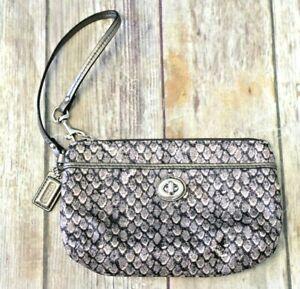 Coach nylon small wristlet leather trim silver taupe reptile print twist lock