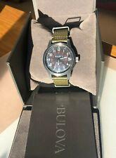 Bulova Men's Watch Hack Automatic Black Dial Green Leather Strap 98A255
