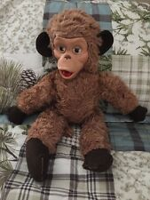 "Vintage Zippy Chimp Monkey (?) Plush Plastic Face Stuffed Animal Doll 20"" tall"