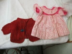 Vintage 2 hand made Doll Clothes Crochet Sweater w/ Glass Button Cotton Dress