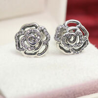 Authentic Pandora Sterling Silver SHIMMERING ROSE CZ Stud Earrings 290575CZ
