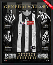 COLLINGWOOD MAGPIES HAND SIGNED FRAMED GENERALS OF GLORY 125 ANNIVERSARY JUMPER