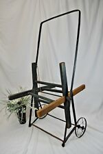 """Antique Vintage Wooden Garden / Fire Hose Reel Wheeled Cart~Green paint~36""""x18"""""""
