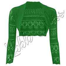 Ladies Long Sleeve Crochet Bolero Shrug Womens Cropped Knitted Cardigan Tops