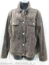 Eddie Bauer Seattle Suede Leather washable Dk Brown Blazer Jacket Button Coat L