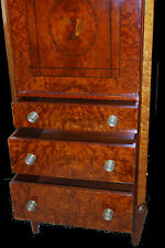 Mahogany & Burl Ash Directoire-Style Circa 1910, Drop Down Desk Chest Bureau