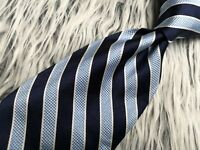 Brooks Brothers Makers Italian Silk Blue White Striped Made in USA Necktie