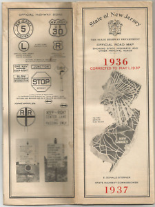 1937 STATE OF NEW JERSEY OFFICAL ROAD MAP