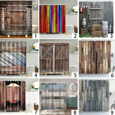 Rustic Wooden Barn Door Western Shower Curtain Bath Curtain Waterproof Fabric