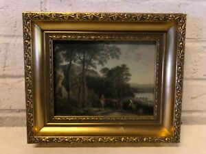 "Antique Antonie Waterloo Colored Etching ""Both"" Landscape Framed 1833"