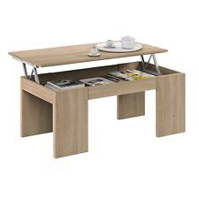 Mesa de centro elevable, mesa auxiliar para salon, mesita comedor Roble canadian