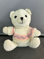 Goffa Small Small White Teddy Bear Plush In Sweater Stuffed Animal