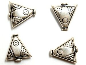 925 STERLING SILVER Antique Bali Triangle 14mm (2 Beads) S614