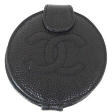 Vintage Chanel Caviar Black Fold Round Mirror Case Accessory.NFV4272