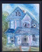 Original Oil Painting Of Victorian Home In Riverside California Impressionism