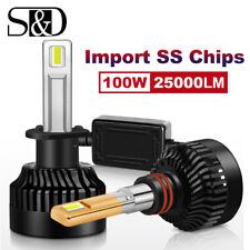 100W Mini H1 LED Headlight Bulb High/Low Beam/Fog Light 6000K 25000LM 6000K 2pcs
