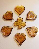Tiara Indiana Glass 7PC Amber Nut~Trinket ~Ashtray~Cards~Heart&Clover Dish