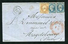 Belle lettre de Cognac ( Charente Maritime 1862 ) pour Magdebourg ( Prusse )