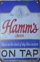 "HAMM'S HAMMS BEER ON TAP RETRO TIN METAL BEER SIGN BAR PUB MAN CAVE 8""x12"" NEW"