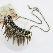 Fashion Lady Bronze Necklace Collar Chain Rivet Long Tassel Punk Spike Jewelry