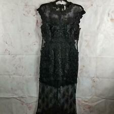 Topshop Women's Formal Lace Dress Gown Size 8 Full Length Lined Back Slit Black