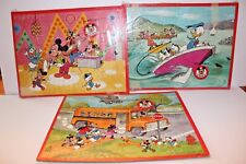 Lot 3 Vtg Puzzles Walt Disney DONALD DUCK INLAID Mickey Mouse Club 14 x 11