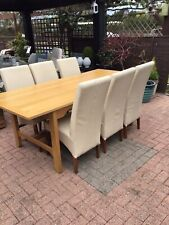 Extending Dining Table and X 6 Leather Chairs