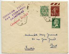 France 1934 COURRIER POSTE PAR HYDRAVION CATAPULTE Croiseur FOCH to Brest