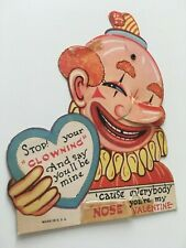 Vintage Comical Clown Growing Action Nose Valentines Card, Stop Clowning Around
