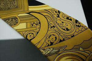 "Hermes Men's Necktie 100% Silk Made in France 3.5"" W 57"" L (black&gold)"